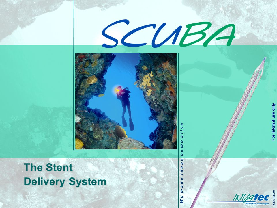 W e m a k e i d e a s c o m e a l i v e 001SCB040700 For internal use only The Stent Delivery System
