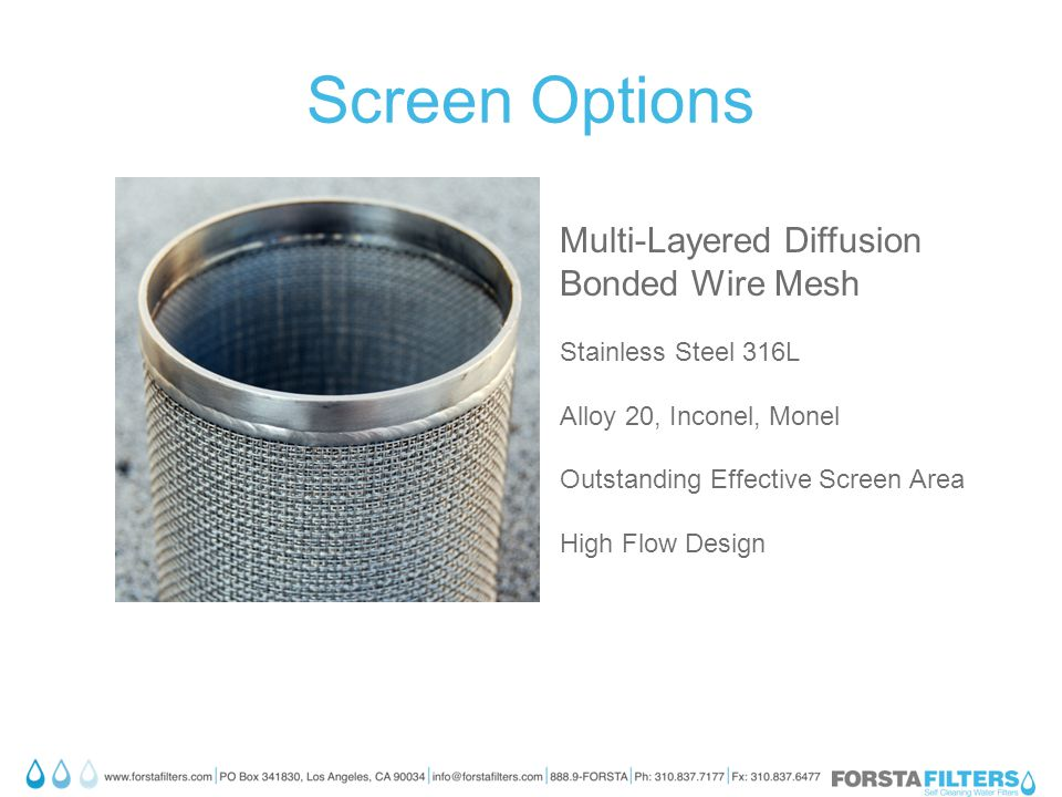 Screen Options Multi-Layered Diffusion Bonded Wire Mesh Stainless Steel 316L Alloy 20, Inconel, Monel Outstanding Effective Screen Area High Flow Design