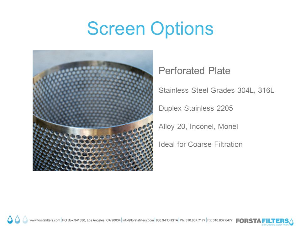 Screen Options Perforated Plate Stainless Steel Grades 304L, 316L Duplex Stainless 2205 Alloy 20, Inconel, Monel Ideal for Coarse Filtration