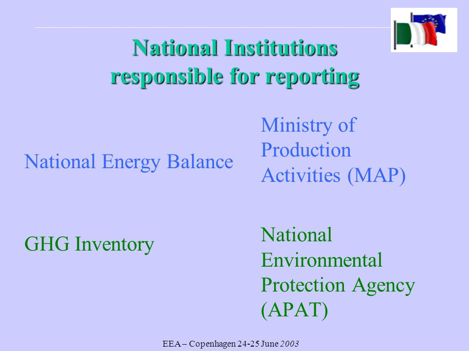 EEA – Copenhagen June 2003 National Institutions responsible for reporting National Energy Balance GHG Inventory Ministry of Production Activities (MAP) National Environmental Protection Agency (APAT)
