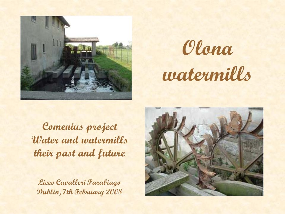 Olona watermills Comenius project Water and watermills their past and future Liceo Cavalleri Parabiago Dublin, 7th February 2008