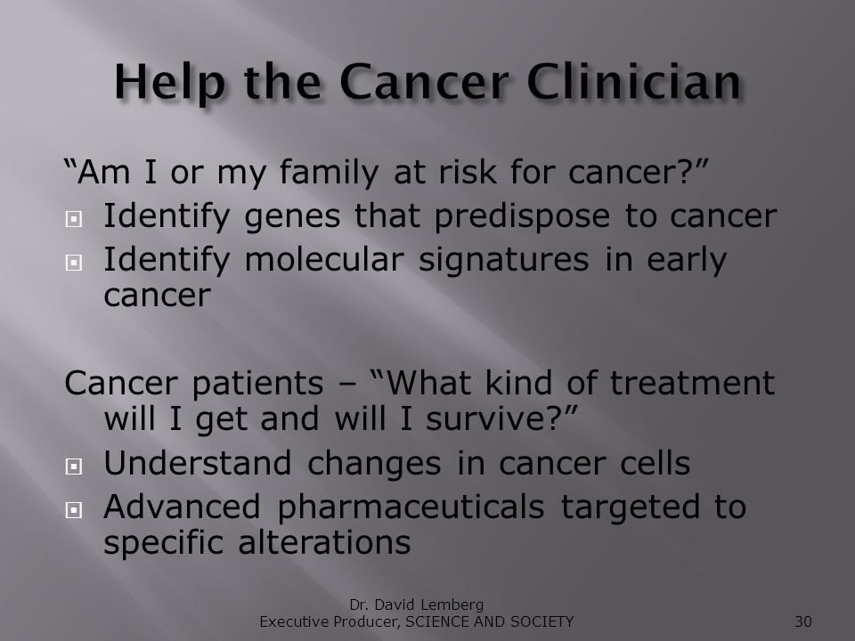 Am I or my family at risk for cancer.