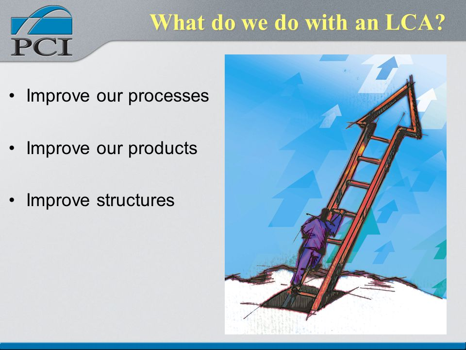 What do we do with an LCA Improve our processes Improve our products Improve structures