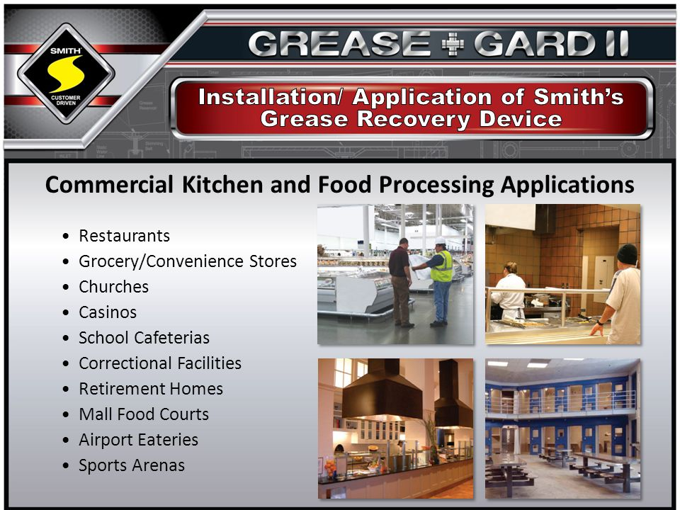 Restaurants Grocery/Convenience Stores Churches Casinos School Cafeterias Correctional Facilities Retirement Homes Mall Food Courts Airport Eateries Sports Arenas Commercial Kitchen and Food Processing Applications