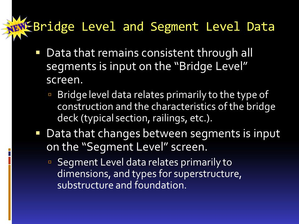 Bridge Level and Segment Level Data Data that remains consistent through all segments is input on the Bridge Level screen.