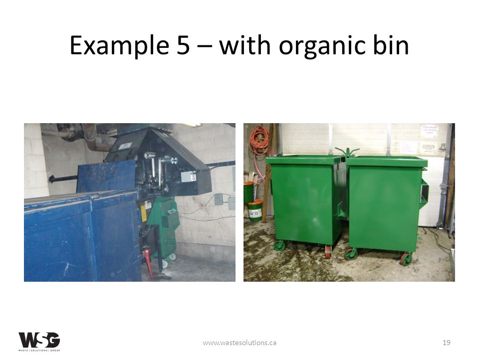 Example 5 – with organic bin www.wastesolutions.ca19