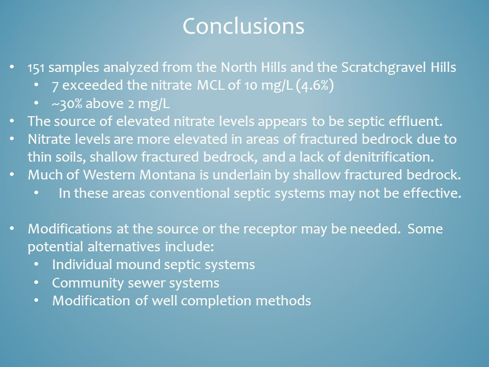Conclusions 151 samples analyzed from the North Hills and the Scratchgravel Hills 7 exceeded the nitrate MCL of 10 mg/L (4.6%) ~30% above 2 mg/L The source of elevated nitrate levels appears to be septic effluent.