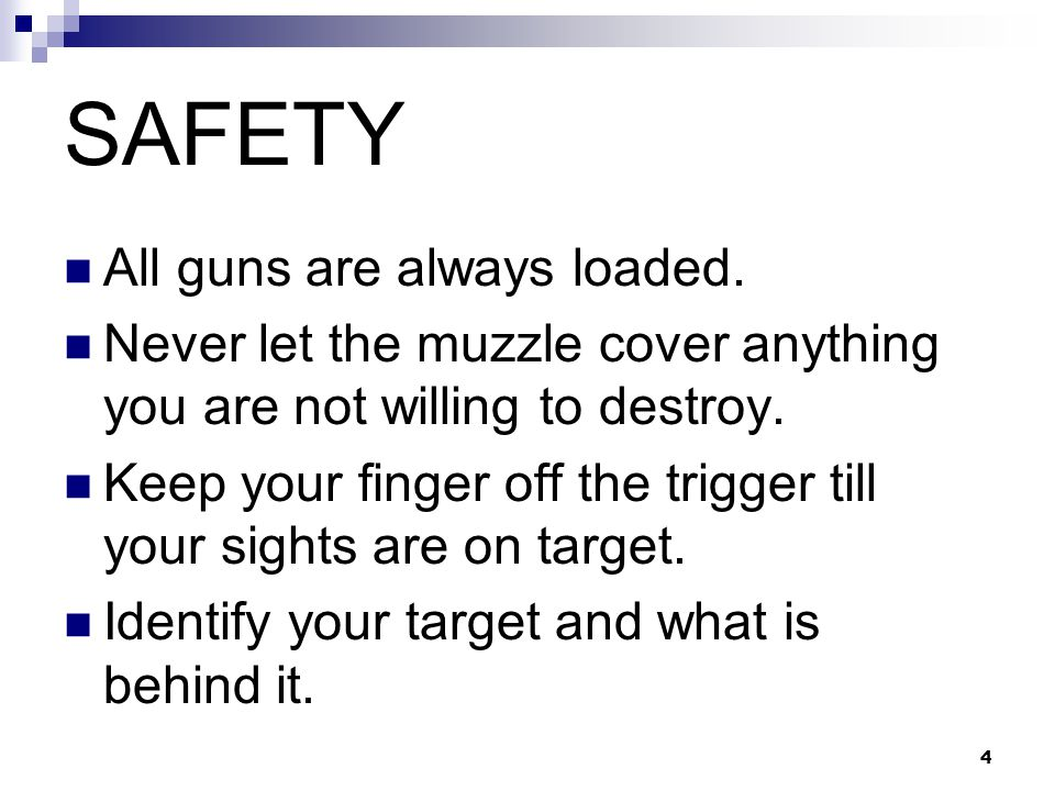 4 SAFETY All guns are always loaded.