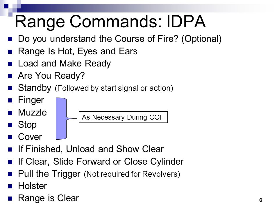 6 Range Commands: IDPA Do you understand the Course of Fire.