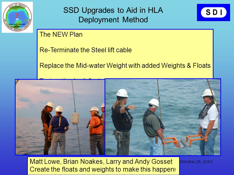 October 26, 2010 Specialty Devices, Inc www.Specialtydevices.com SSD Upgrades to Aid in HLA Deployment Method The NEW Plan Re-Terminate the Steel lift cable Replace the Mid-water Weight with added Weights & Floats Test on the April Cruise Matt Lowe, Brian Noakes, Larry and Andy Gosset Create the floats and weights to make this happen !
