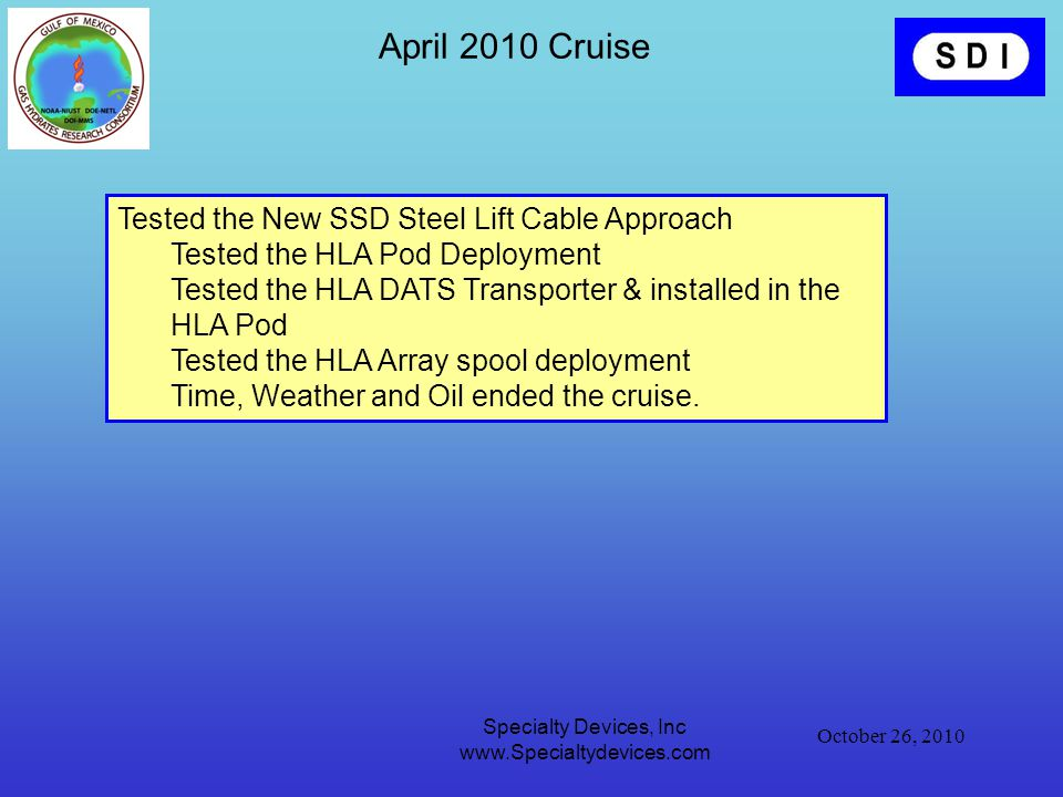 October 26, 2010 Specialty Devices, Inc www.Specialtydevices.com April 2010 Cruise Tested the New SSD Steel Lift Cable Approach Tested the HLA Pod Deployment Tested the HLA DATS Transporter & installed in the HLA Pod Tested the HLA Array spool deployment Time, Weather and Oil ended the cruise.