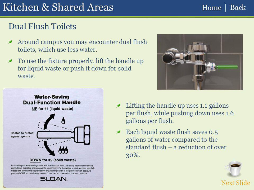 Dual Flush Toilets Kitchen & Shared Areas Around campus you may encounter dual flush toilets, which use less water.