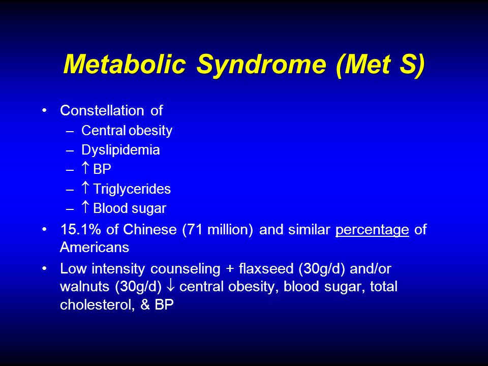 Metabolic Syndrome (Met S) Constellation of –Central obesity –Dyslipidemia – BP – Triglycerides – Blood sugar 15.1% of Chinese (71 million) and similar percentage of Americans Low intensity counseling + flaxseed (30g/d) and/or walnuts (30g/d) central obesity, blood sugar, total cholesterol, & BP