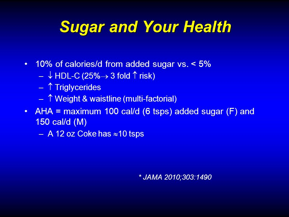 Sugar and Your Health 10% of calories/d from added sugar vs.