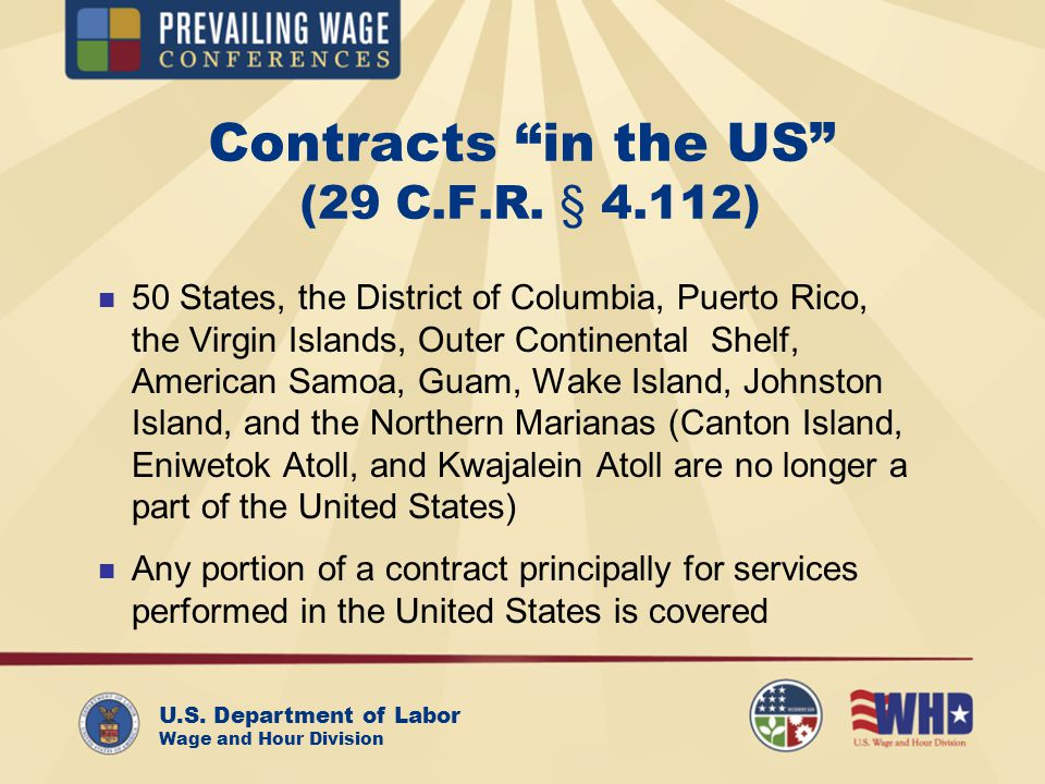 U.S. Department of Labor Wage and Hour Division Contracts in the US (29 C.F.R.