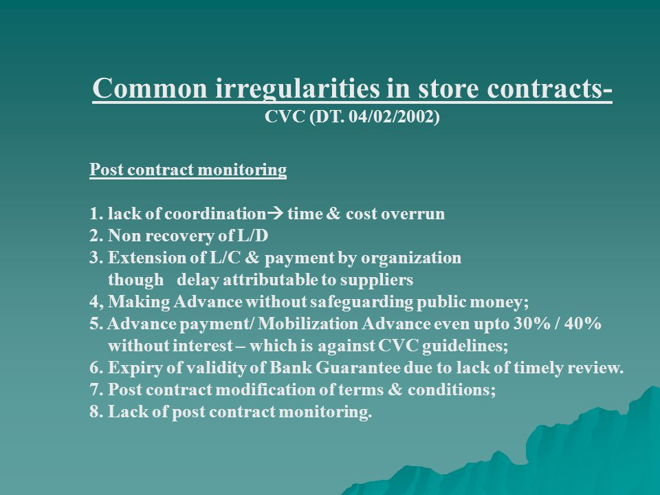 Common irregularities in store contracts- CVC (DT.