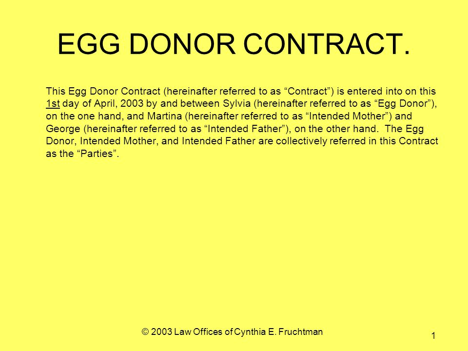 © 2003 Law Offices of Cynthia E. Fruchtman 1 EGG DONOR CONTRACT.
