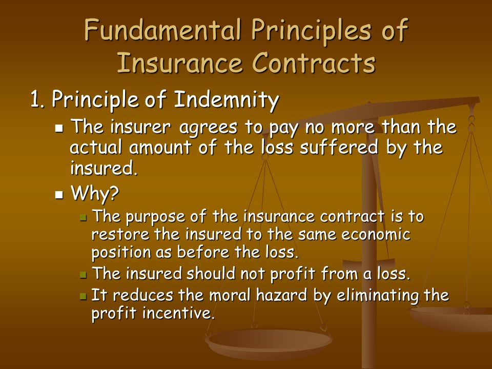 Fundamental Principles of Insurance Contracts 1.