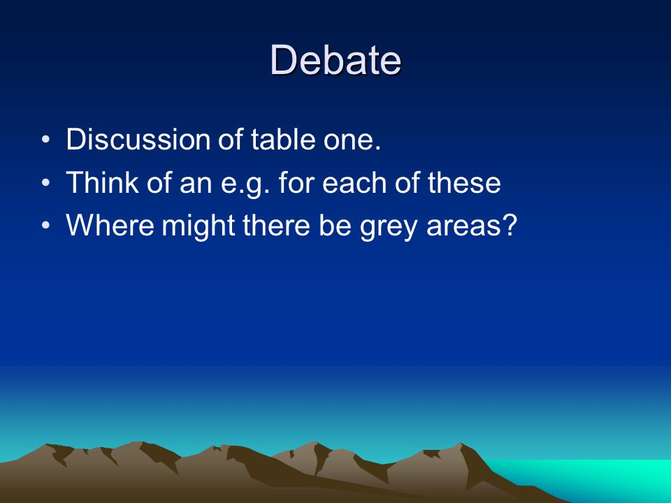 Debate Discussion of table one. Think of an e.g. for each of these Where might there be grey areas