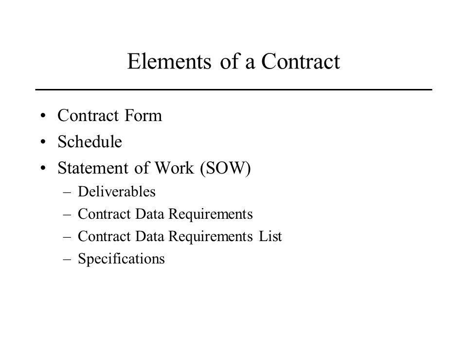 Elements of a Contract Contract Form Schedule Statement of Work (SOW) –Deliverables –Contract Data Requirements –Contract Data Requirements List –Specifications