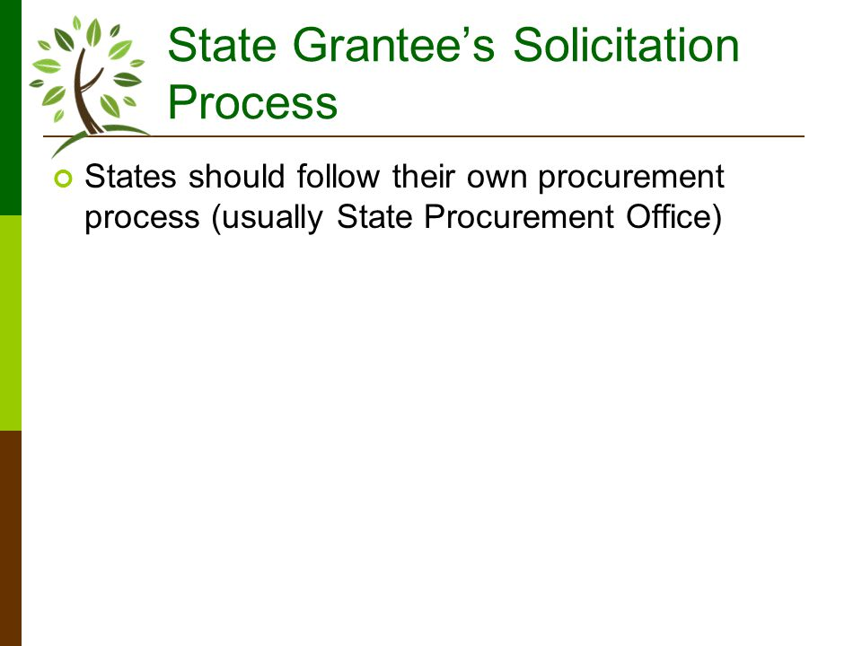 State Grantees Solicitation Process States should follow their own procurement process (usually State Procurement Office)