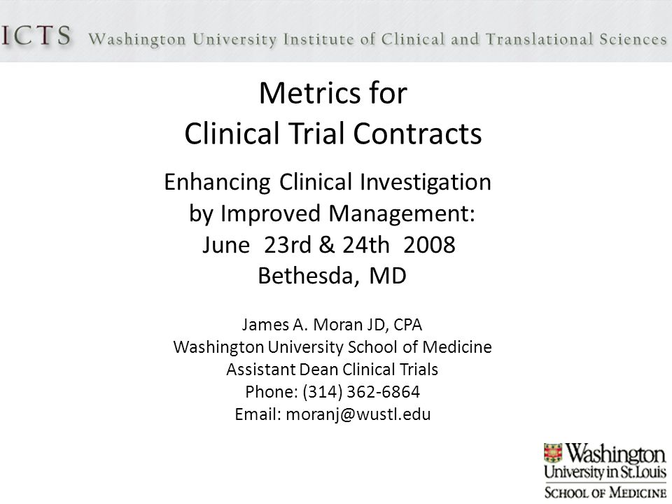 Metrics For Clinical Trial Contracts Enhancing Clinical