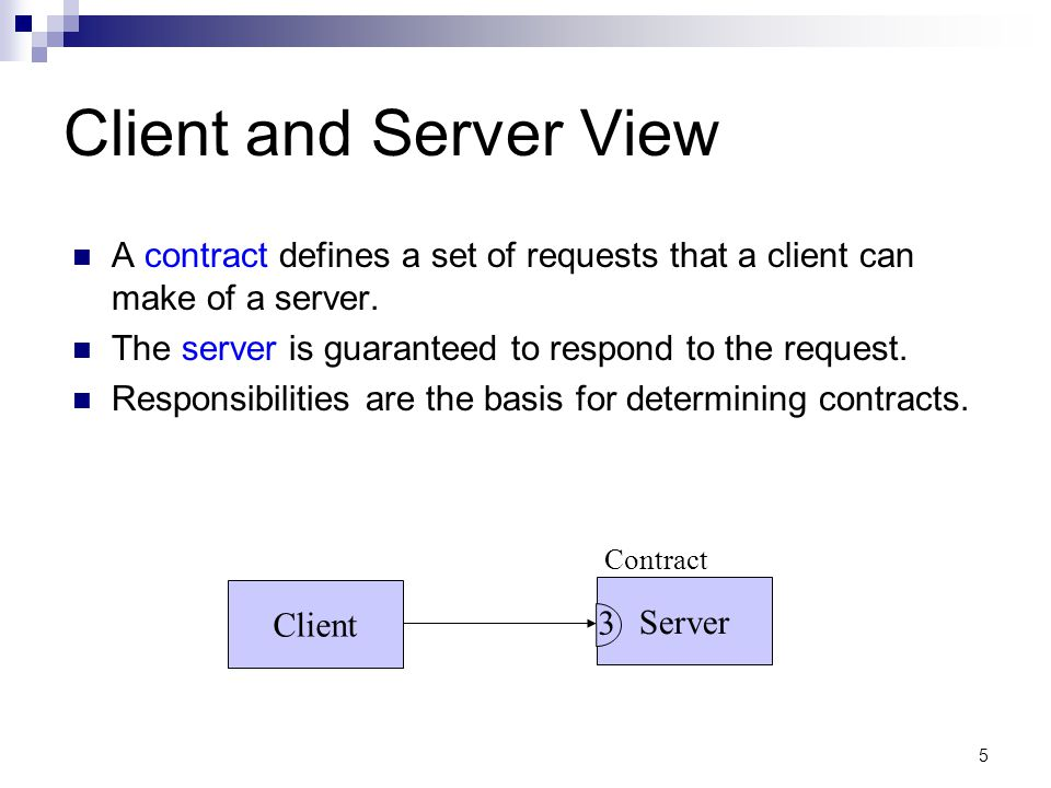 Server 5 Client and Server View A contract defines a set of requests that a client can make of a server.