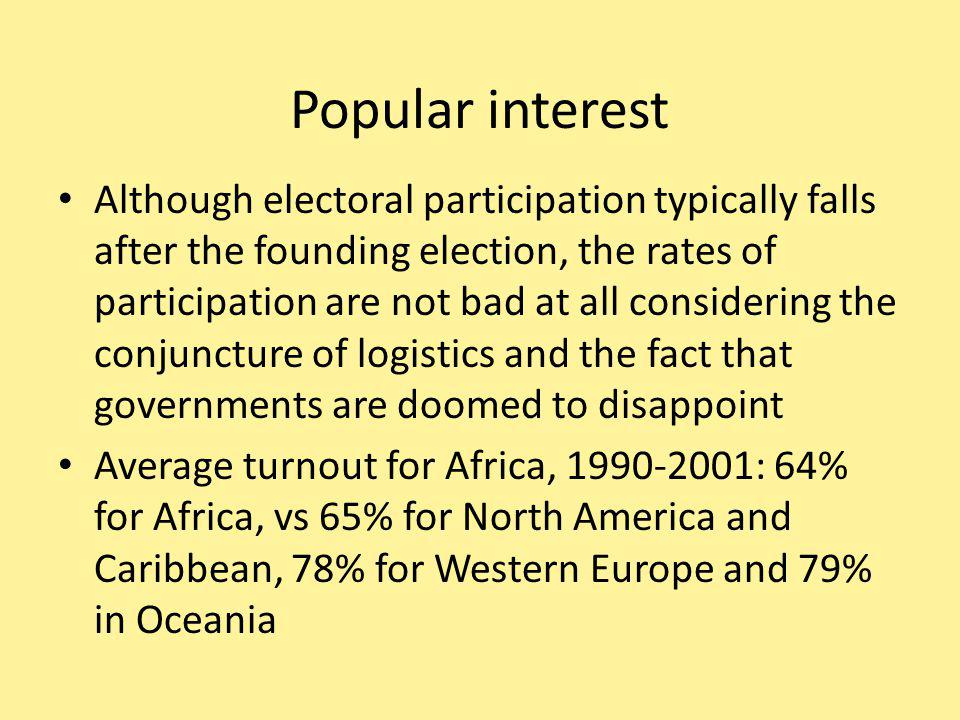 Popular interest Although electoral participation typically falls after the founding election, the rates of participation are not bad at all considering the conjuncture of logistics and the fact that governments are doomed to disappoint Average turnout for Africa, 1990-2001: 64% for Africa, vs 65% for North America and Caribbean, 78% for Western Europe and 79% in Oceania