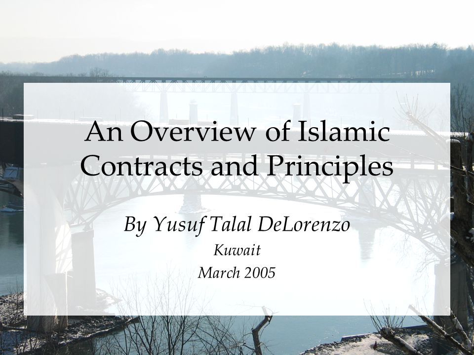 An Overview of Islamic Contracts and Principles By Yusuf Talal DeLorenzo Kuwait March 2005