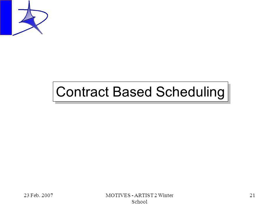 23 Feb. 2007MOTIVES - ARTIST 2 Winter School 21 Contract Based Scheduling