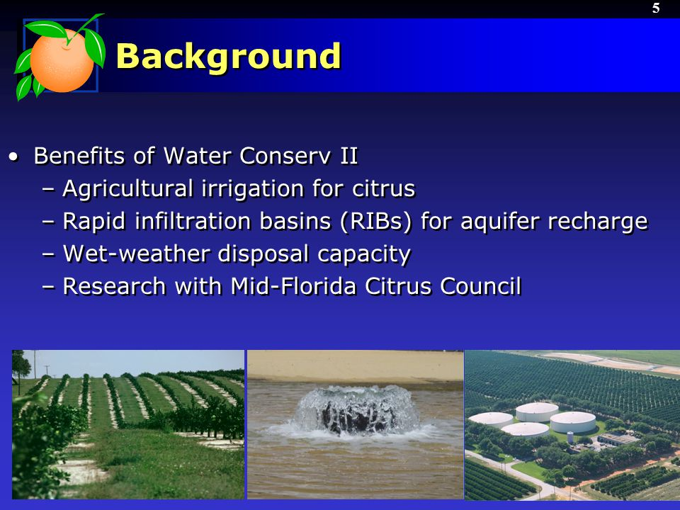 5 Background Benefits of Water Conserv II –Agricultural irrigation for citrus –Rapid infiltration basins (RIBs) for aquifer recharge –Wet-weather disposal capacity –Research with Mid-Florida Citrus Council
