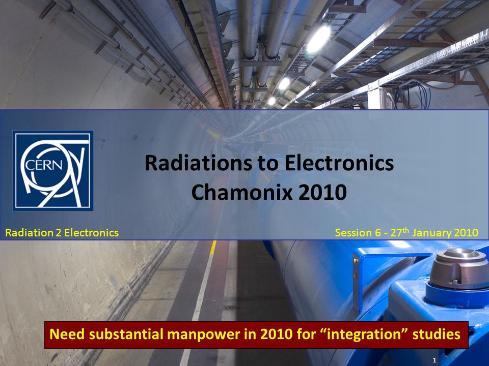 Chamonix 2010: January 27 th Session 6 – Radiation To Electronics: R2E Summary Radiation 2 Electronics Session 6 - 27 th January 2010 Radiations to Electronics Chamonix 2010 1 Need substantial manpower in 2010 for integration studies