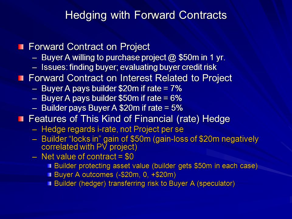 Hedging with Forward Contracts Forward Contract on Project –Buyer A willing to purchase project @ $50m in 1 yr.