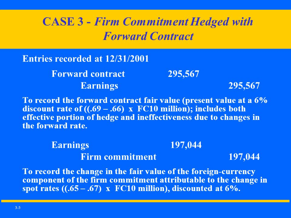 3-5 Entries recorded at 12/31/2001 Forward contract295,567 Earnings 295,567 To record the forward contract fair value (present value at a 6% discount rate of ((.69 –.66) x FC10 million); includes both effective portion of hedge and ineffectiveness due to changes in the forward rate.