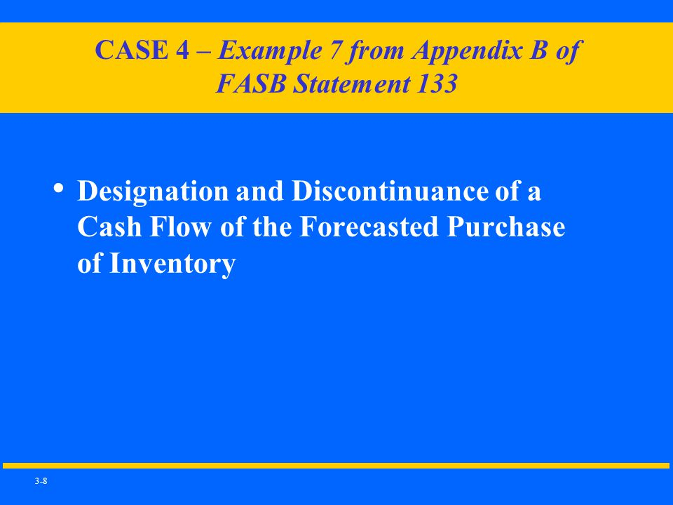 3-8 CASE 4 – Example 7 from Appendix B of FASB Statement 133 Designation and Discontinuance of a Cash Flow of the Forecasted Purchase of Inventory