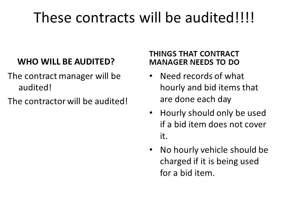 These contracts will be audited!!!. WHO WILL BE AUDITED.