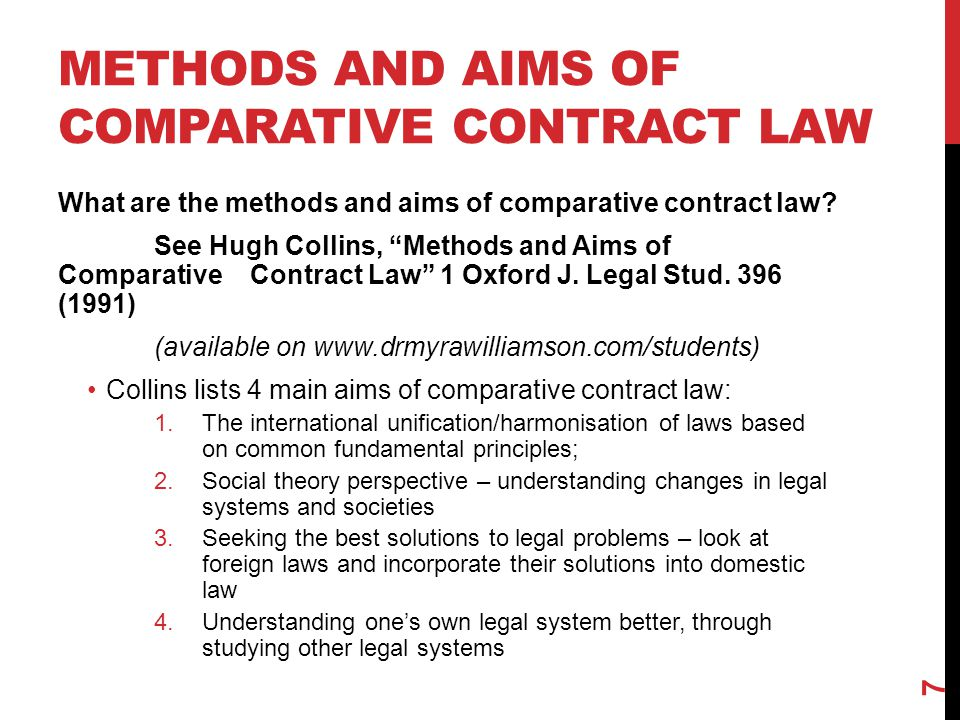 METHODS AND AIMS OF COMPARATIVE CONTRACT LAW What are the methods and aims of comparative contract law.