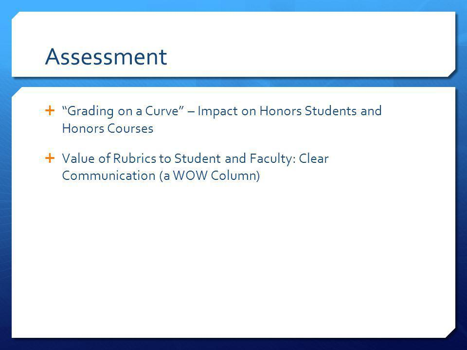 Assessment Grading on a Curve – Impact on Honors Students and Honors Courses Value of Rubrics to Student and Faculty: Clear Communication (a WOW Column)