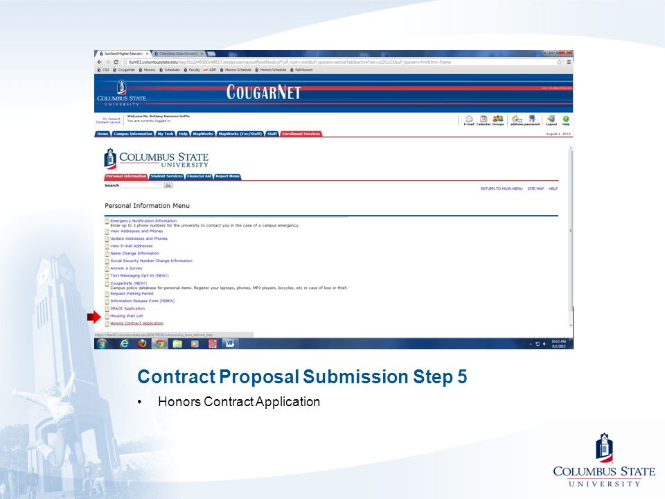 Contract Proposal Submission Step 5 Honors Contract Application