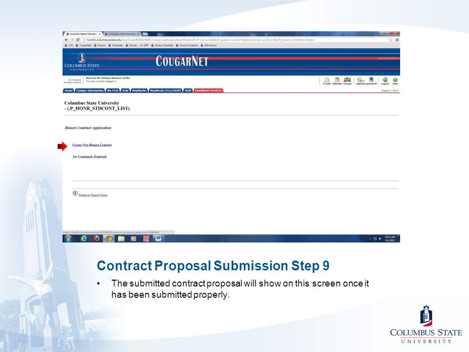 Contract Proposal Submission Step 9 The submitted contract proposal will show on this screen once it has been submitted properly.