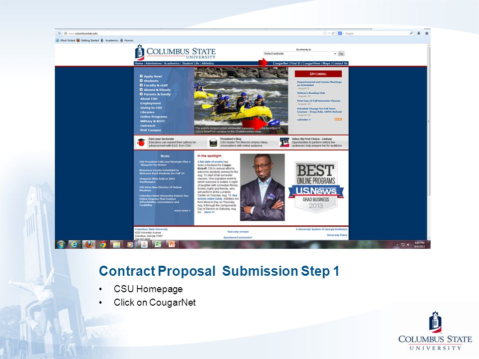 Contract Proposal Submission Step 1 CSU Homepage Click on CougarNet