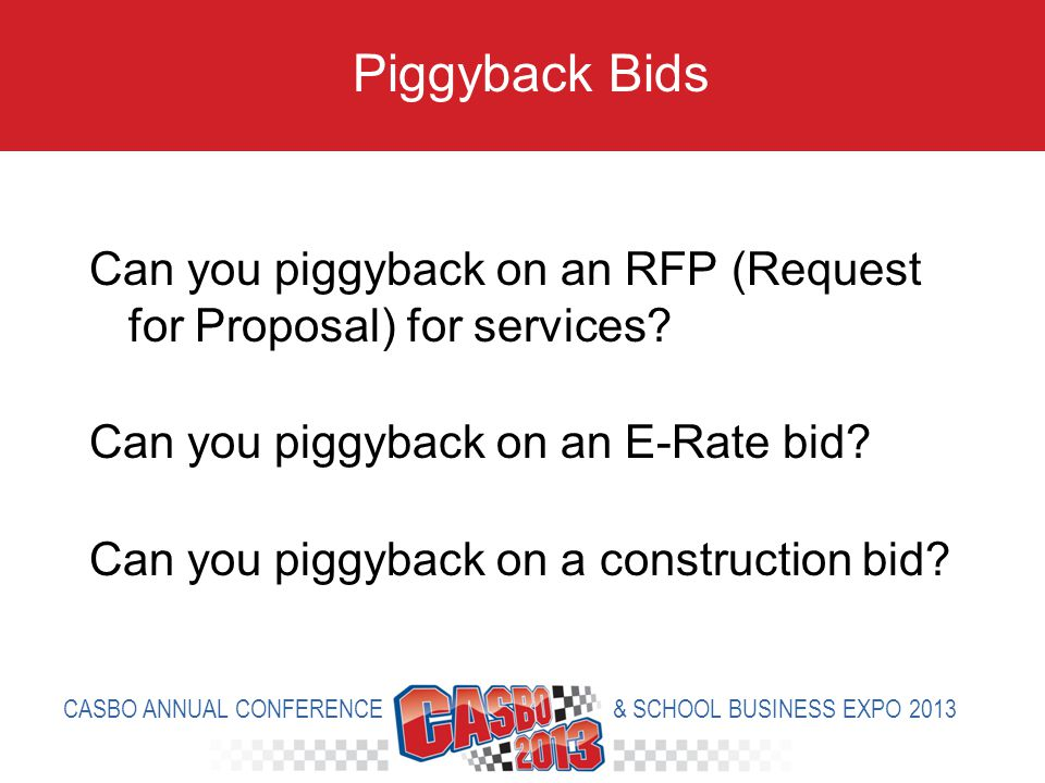 Can you piggyback on an RFP (Request for Proposal) for services.