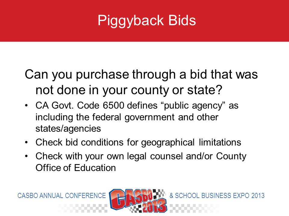 Can you purchase through a bid that was not done in your county or state.