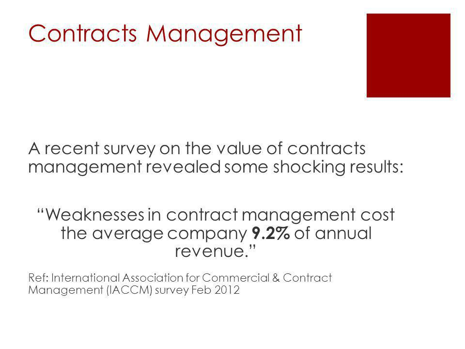 Contracts Management A recent survey on the value of contracts management revealed some shocking results: Weaknesses in contract management cost the average company 9.2% of annual revenue.
