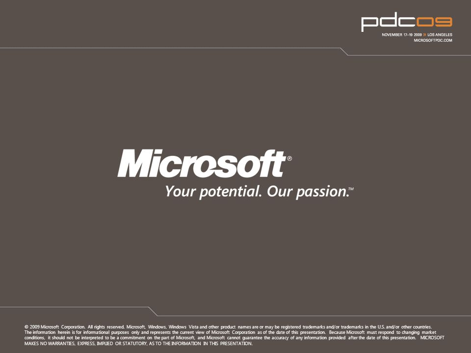 © 2009 Microsoft Corporation. All rights reserved.