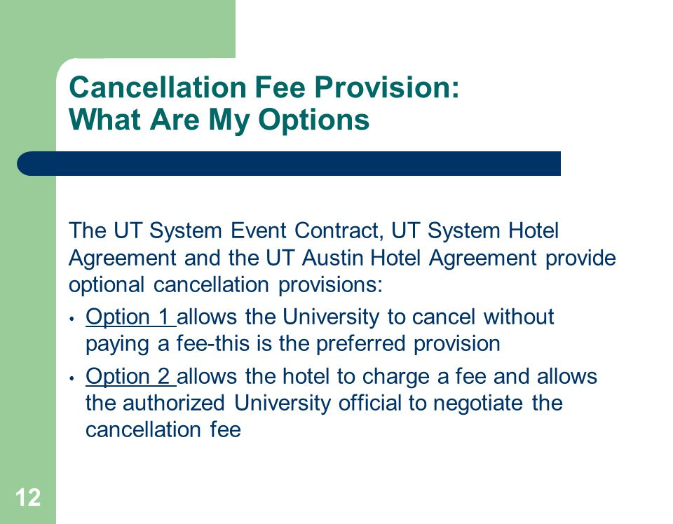 The University Of Texas System Hotel Contract Cancellation And