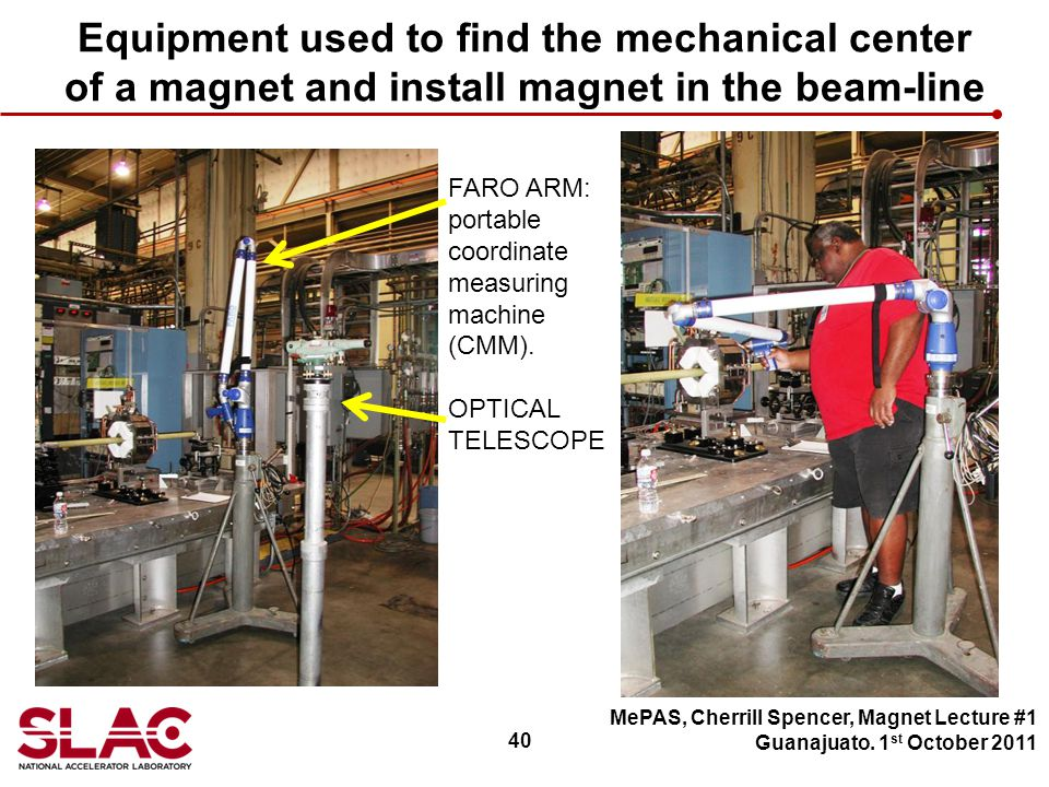 40 Equipment used to find the mechanical center of a magnet and install magnet in the beam-line MePAS, Cherrill Spencer, Magnet Lecture #1 Guanajuato.