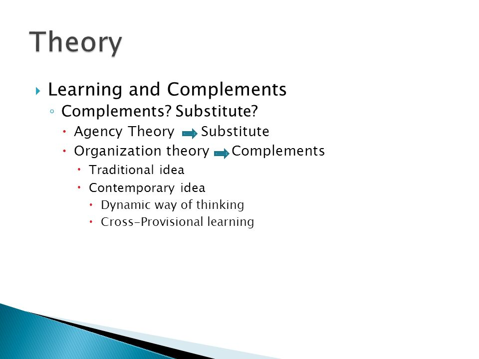 Learning and Complements Complements. Substitute.