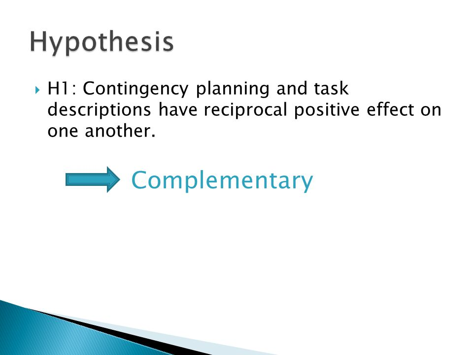H1: Contingency planning and task descriptions have reciprocal positive effect on one another.