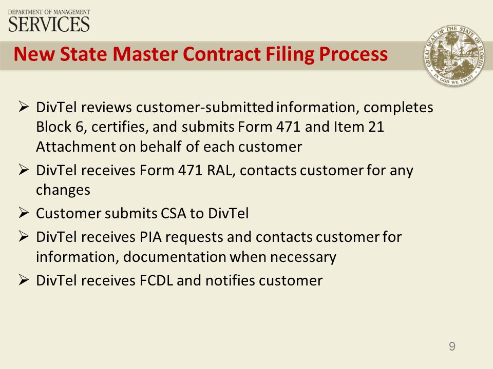 9 New State Master Contract Filing Process DivTel reviews customer-submitted information, completes Block 6, certifies, and submits Form 471 and Item 21 Attachment on behalf of each customer DivTel receives Form 471 RAL, contacts customer for any changes Customer submits CSA to DivTel DivTel receives PIA requests and contacts customer for information, documentation when necessary DivTel receives FCDL and notifies customer